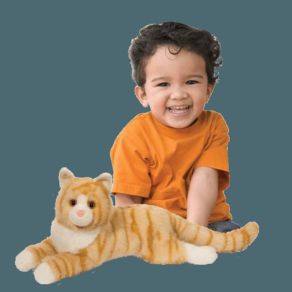Orange Stuffed Cat with Boy