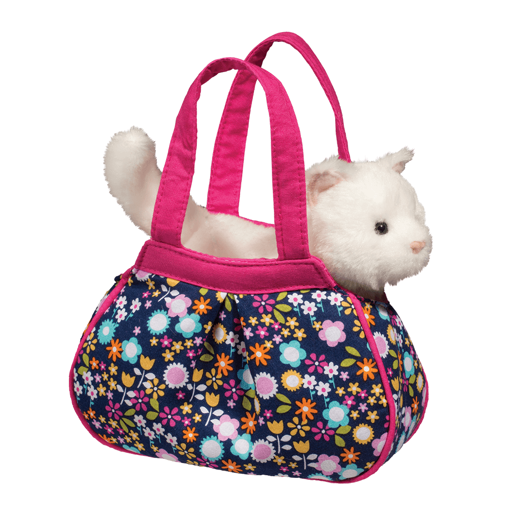 Navy Floral Sassy Pet Sak with White Cat