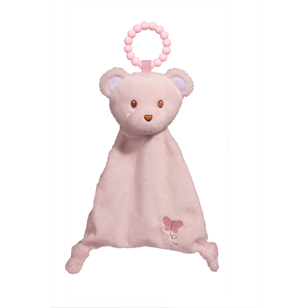 Pink Bear Lil' Sshlumpie Teether Blankie