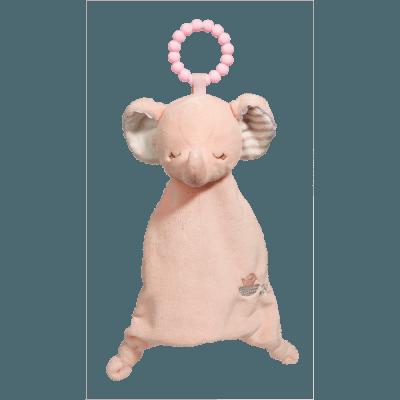 Pink Elephant Lil' Sshlumpie Teether Blankie