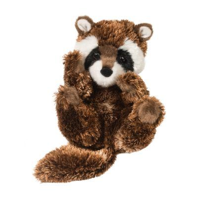 Handful raccoon stuffed animal.