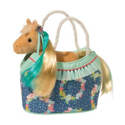 Horse stuffed animal in designer tote bag for kids.