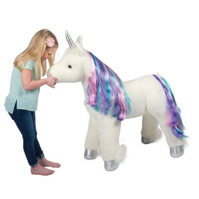Jumbo Unicorn stuffed animal ride-on toy