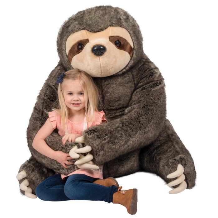 Jumbo stuffed animal sloth is soft and cuddly