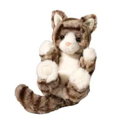 gray striped cat stuffed animal.