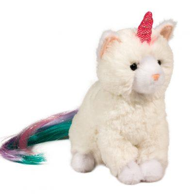white cat with unicorn horn stuffed animal