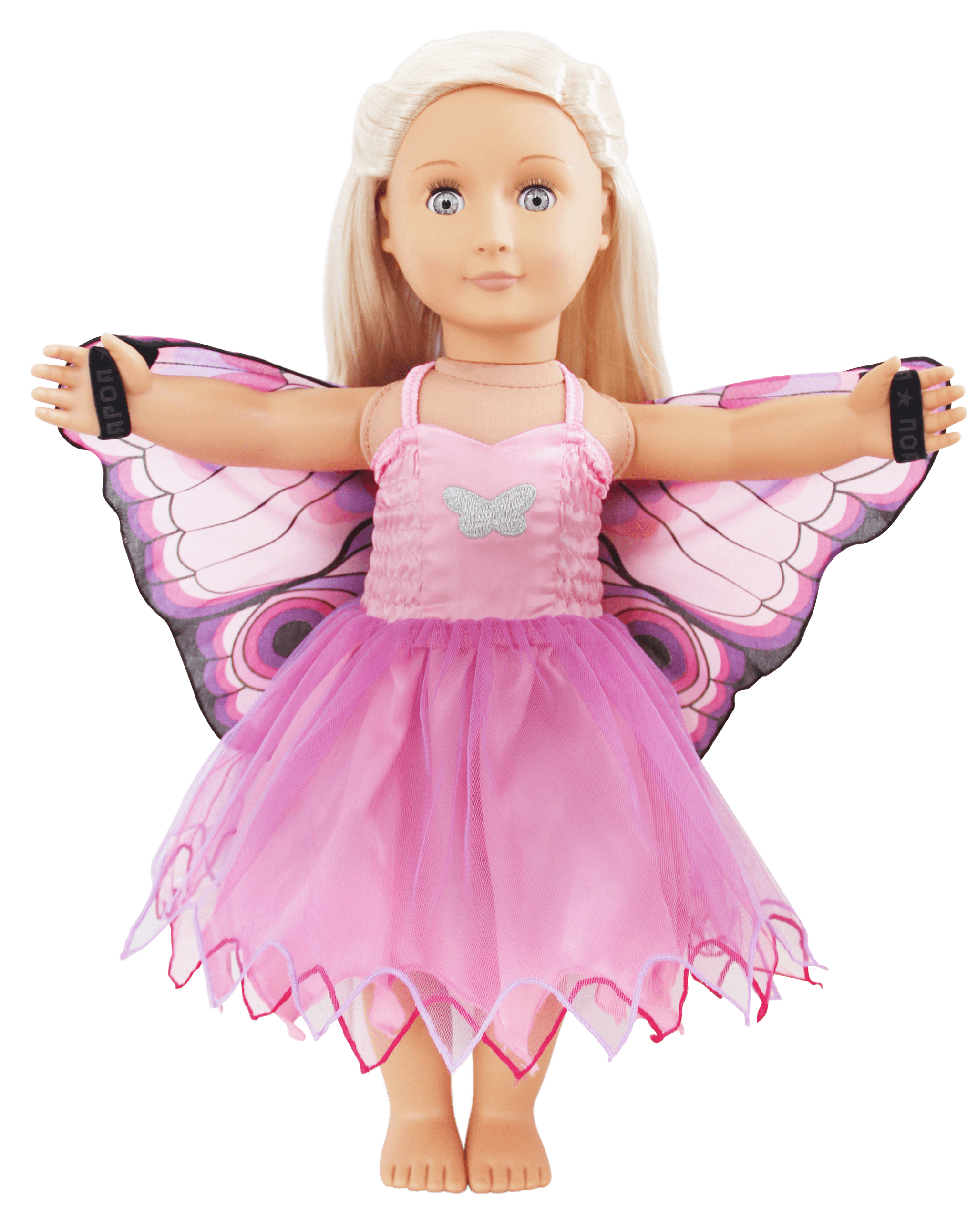 pink butterfly doll dress