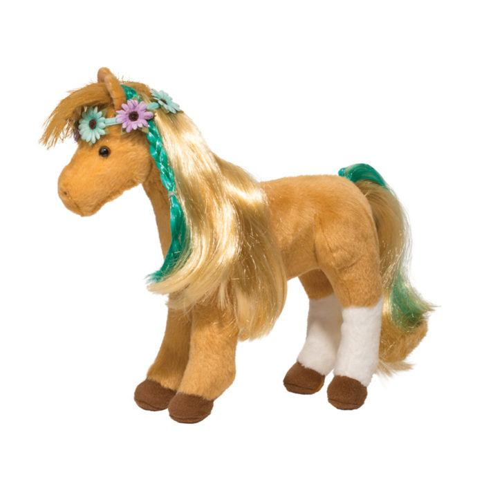 Stuffed animal chestnut horse with brushable hair and flowers.