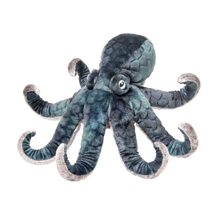 stuffed animal ink octopus with beautiful blue material.