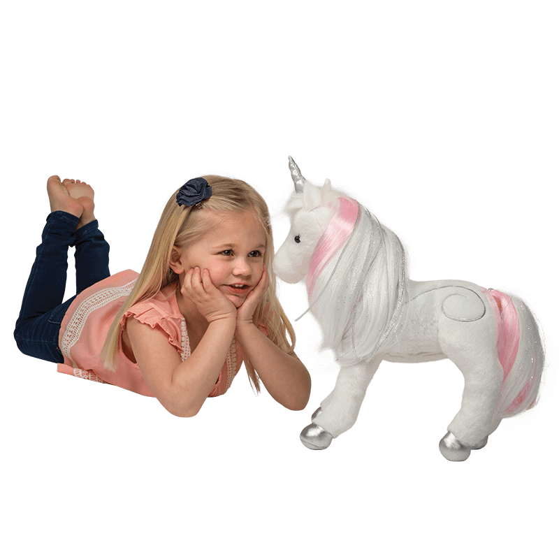 Little girl with unicorn