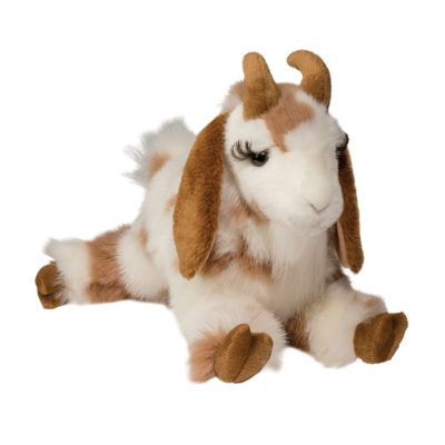 Stuffed animal goat brown and white spots.