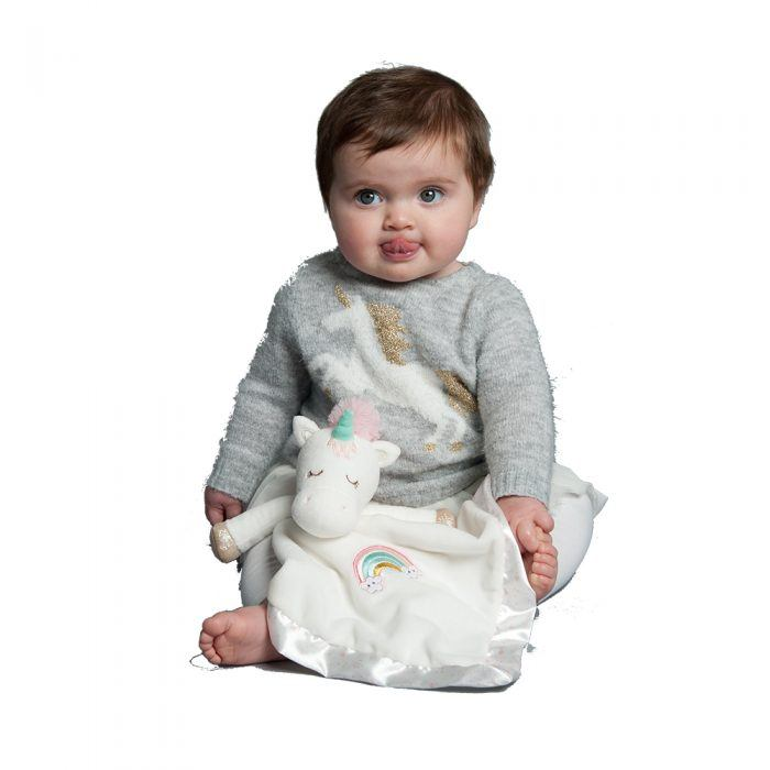Soft unicorn baby snuggler great for baby gift.