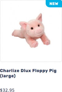 Picture of Charlize the plush DLux Pig stuffed animal that leads to page to purchase