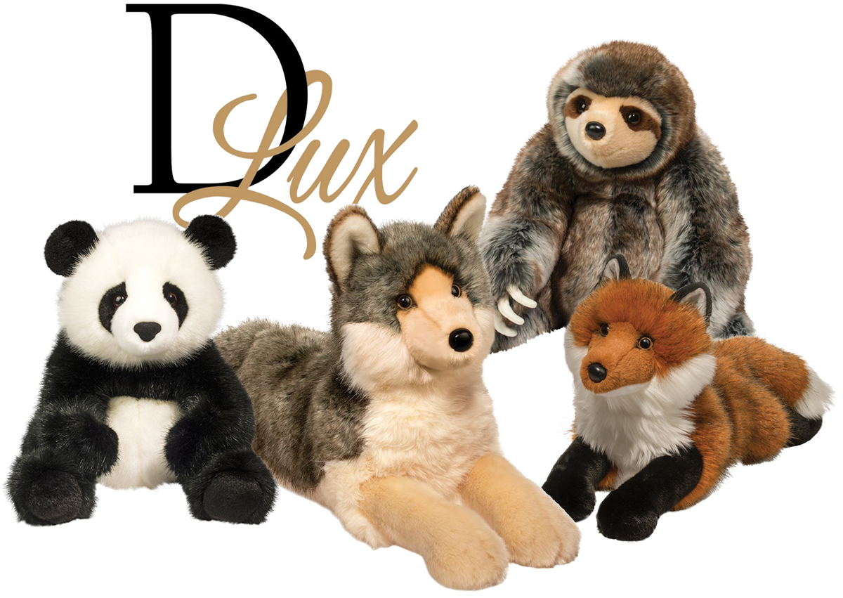 Group of stuffed animals featuring a panda, wolf, sloth, and fox from the Douglas DLux collection with the black and gold DLux logo behind them