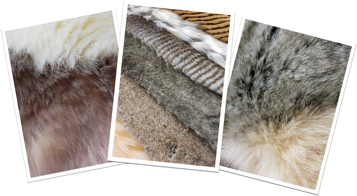 A sample set of realistic plush faux fur swatches taken from different stuffed animals from the Douglas DLux collection