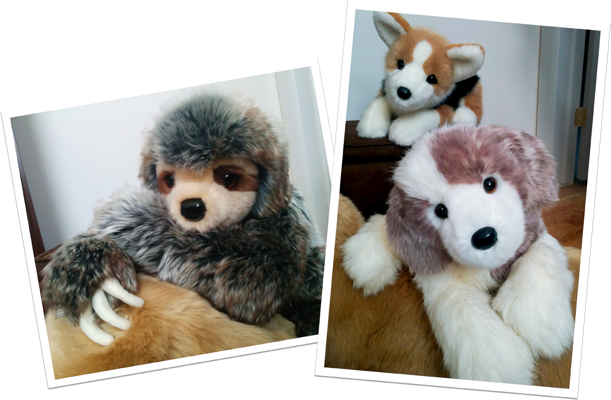 Two photographs featuring the posable nature of a sloth, Corgi, and Great Pyrenees plush from the Douglas DLux stuffed animal collection