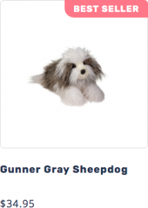 Picture of Gunner the plush DLux Gray Sheepdog stuffed animal that leads to page to purchase