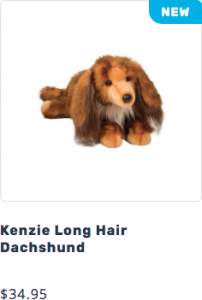 Photo of Kenzie the plush DLux Long Hair Dachshund stuffed animal that leads to page to purchase
