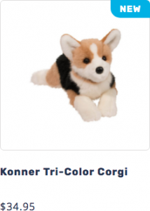 Photo of Konner the plush DLux Tri Color Corgi stuffed animal that leads to page to purchase