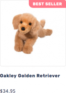 Picture of Oakley the plush DLux Golden Retriever stuffed animal that leads to page to purchase