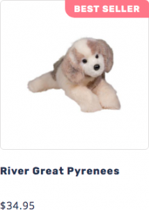 Photo of River the plush DLux Great Pyrenees stuffed animal that leads to page to purchase