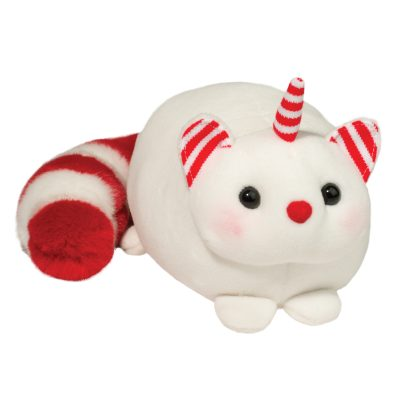 Holiday squishy caticorn with red and white bushy tail!