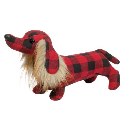 Dachshund stuffed animal in buffalo plaid.