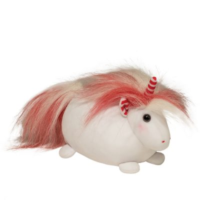 Squish-able holiday unicorn with red and white mane.