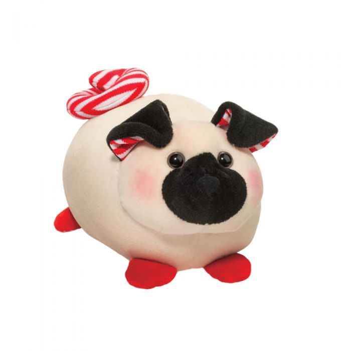 Holiday stuffed animal pug dog.