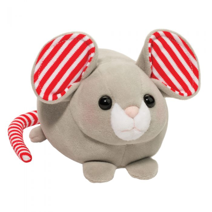 Soft stuffed mouse with red and white striped ears!