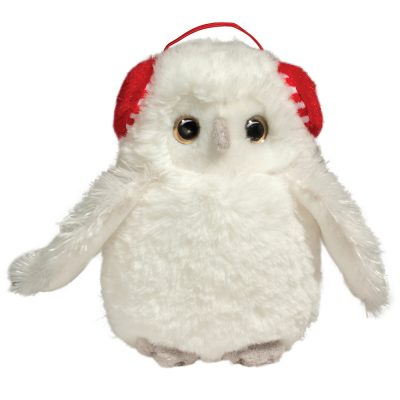 snowy white owl with ear muffs.