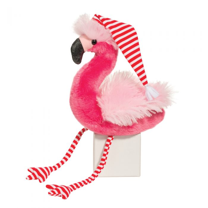 Holiday stuffed animal flamingo.