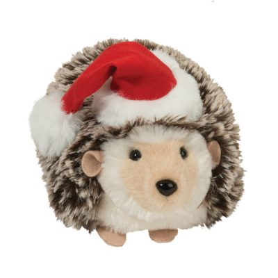 Holiday hedgehog with santa hat.