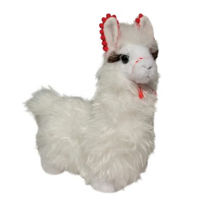 White stuffed animal llama with red details.