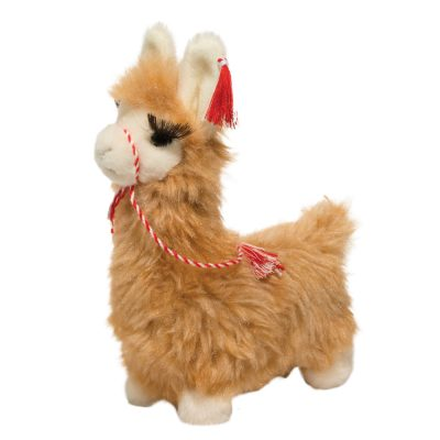 Sweet, brown stuffed animal llama with eyelashes.