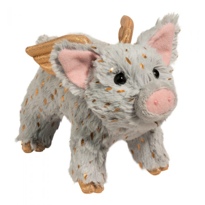 Holiday sparkle flying pig stuffed animal.