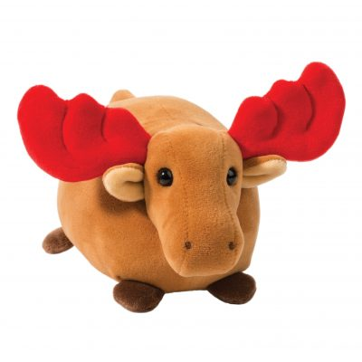 Soft holiday moose with red antlers.