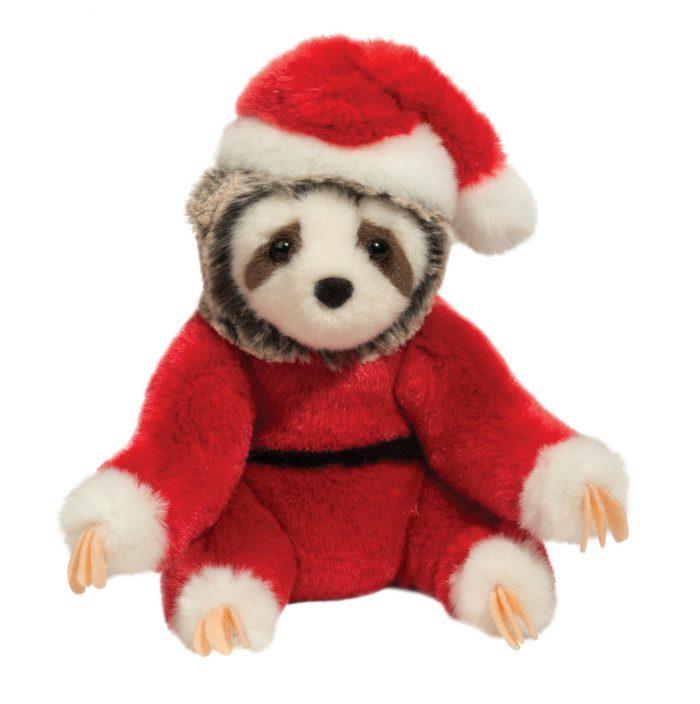 Sloth stuffed animal in santa costume.