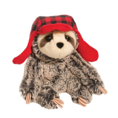 Holiday sloth stuffed animal with hat.