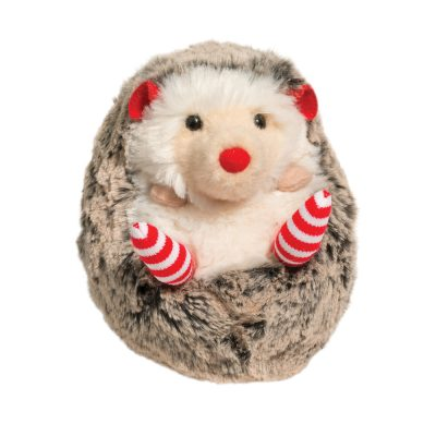 Holiday plush hedgehog with socks.