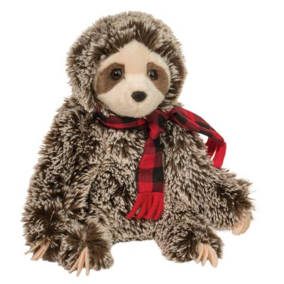 Holiday sloth with plaid scarf.