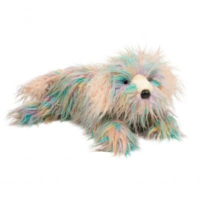 Large rainbow english sheepdog stuffed animal.