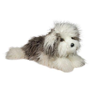 Large stuffed animal english sheepdog grey and white.