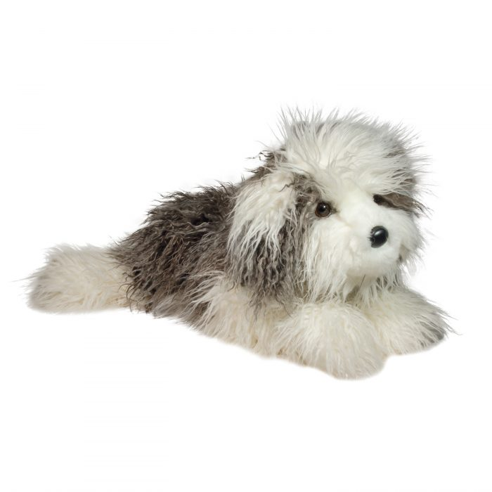 Large stuffed animal english sheepdog grey and white.