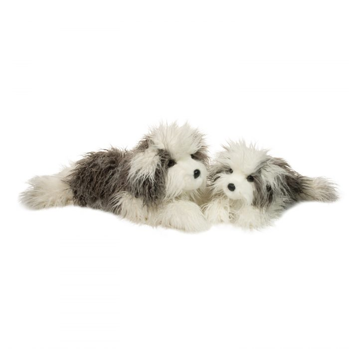 Grey and white stuffed animal sheepdogs.
