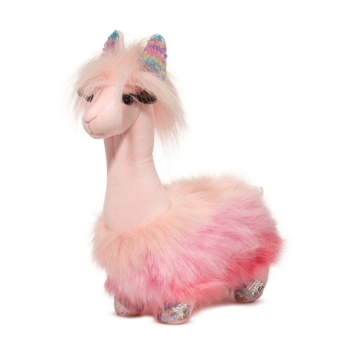 Pink rainbow stuffed animal llama with sequence