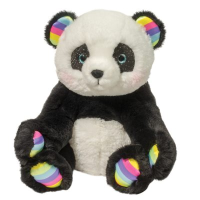 Soft panda bear stuffed animal with rainbow accents.
