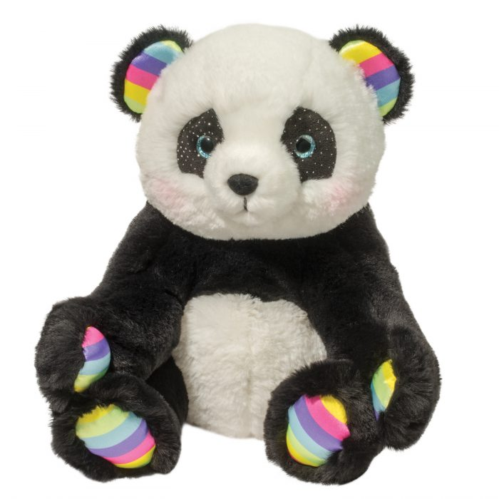 Soft panda bear stuffed animal with rainbow accents.