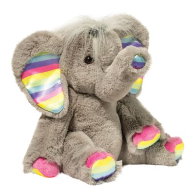 Squishy soft elephant stuffed toy with rainbow accents.