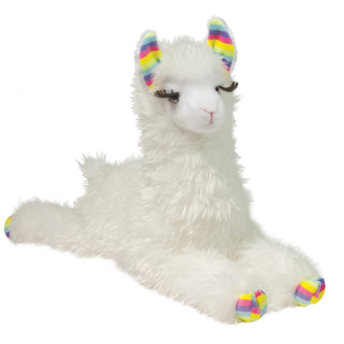 Fluffy white stuffed animal llama.
